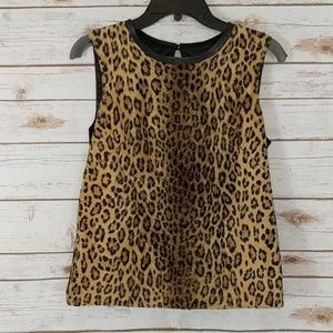 Milly Faux Fur Leopard Print Tank Top 4